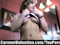 Come peek in on Carmen Valentina as she plays with her pussy in the bathroom!