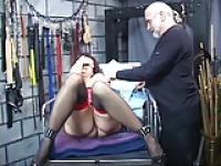 Slut gets bound on table and gets pussy fingered by dom