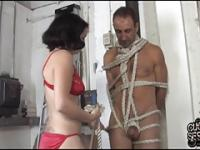 Tied cuckold watch his wife fucked by 3 blacks