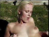 Scorching blonde gets fucked and facialized outdoors