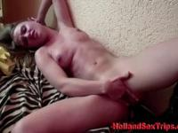 Dutch hooker at work on her client