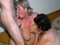 Old mature Nurse massaging Granny