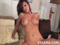 busty brunette babe rides swollen cock