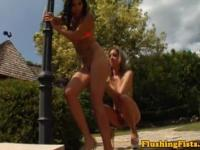 Fisting loving lesbians in hot session