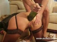 Extremely brutal anal fisting and wine bottle fucked housewife