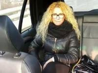 Curly blonde with glasses fucking in fake taxi