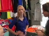 Blonde Girl Gets Eaten Out During Cash Stunt In Clothing Store