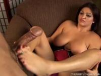 Cute chubby babe gives a great footjob
