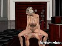 Sexy 3D blonde sucks cock and gets fucked hard
