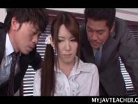 Asian school teacher stripped and fucked by horny colleagues