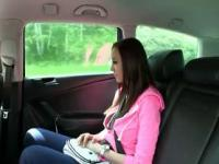 Busty student gives blowjob and fucked in fake taxi