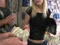 Stunning blonde amateur doll fucked for cash in public