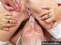 Furry gran licks hot mamma in lesbian action