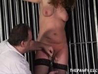 Tall amateur slave in extreme bdsm