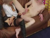 Femdom slut fucking his ass with her strapon