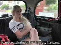 Hot dirty blonde anally fucked in fake taxi
