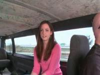 Teen hottie chatting about sex in the sex bus