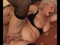 Grey haired gilf mature rides young cock