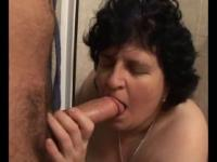 BBW old granny sucking on hard cock