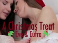 Hot lesbians in Christmas lingerie licking