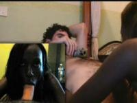 Afro babe sucking and taking huge white dick deep in twat