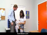 Naturally busty schoolgirl Evi Fox fucks teacher