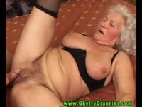 Hot grey haired GILF in black lingerie sucking and fucking