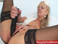 Elder blondie matured putting in pussy plus huge adult toy