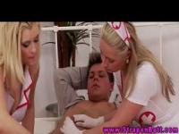 Femdom nurses using dildo on guys ass