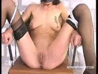 Severe pussy slapping for tied up woman