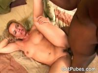 Hot MILF seduces a guy with her hairy pussy