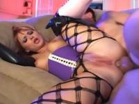 Anal sex in gloves pantyhose and knee high boots