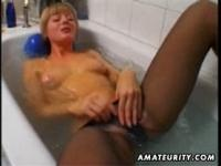 d Blonde amateur wife toying and masturbating in her bathroom