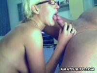 Blonde amateur girlfriend sucks and fucks with creampie