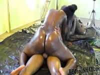 OILED EBONY COUPLE FUCK !!