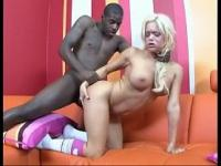 Blonde in pigtails enjoys some black cock
