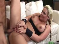 lovely blonde with bigtits gets her pussy fucked hard after her workout