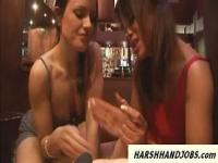 2 hot bar girls give a cfnm handjob to customer
