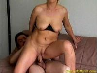 Crazy old mom gets fucked hard and cumshot on tits