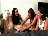 4 Babes jerk a big dick together!