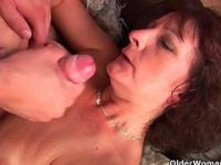 Grandma with hairy pussy sucks and fucks