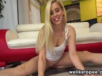 Blonde pornstar enjoys piss play