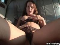 Sweetie Plays With Her Undies Inside The Car