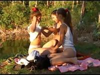 Three Beautiful Russian Teen Girls Outdoor Fun