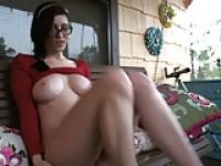 Girl wearing glasses masturbates