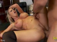 Horny Blonde Ride A Massive Dick In The Office!