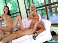 Glam beauties enjoying threesome ffm