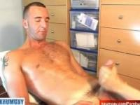 Guy next-door get wanked his big cock by us !