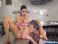 Latina gusher jumps on soldiers dick