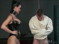 Slave boy in straight jacket and anal hook swings brick from his balls to please his Mistress